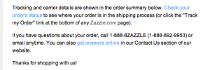 Zazzle order shipping