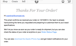 Zazzle thank you email